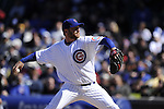 CHICAGO - APRIL  11:  Ryan Dempster #46 of the Chicago Cubs pitches against the Milwaukee Brewers on April 11, 2012 at Wrigley Field in Chicago, Illinois.  The Brewers defeated the Cubs 2-1.  (Photo by Ron Vesely)   Subject:  Ryan Demptser