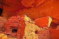 Snake pictograph on cave wall,  Utah/Arizona, Location secret to protect archeology, Kayenta Anasazi culture rock art and ruins, Snake House Ruin