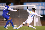 06 November 2012: Duke's Jonathan Aguirre (17) and UNC's Jordan Gafa (14). The University of North Carolina Tar Heels defeated the Duke University Blue Devils 1-0 at Fetzer Field in Chapel Hill, North Carolina in a 2012 NCAA Division I Men's Soccer game. The game was an Atlantic Coast Conference quarterfinal match.
