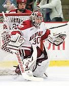 Raphael Girard (Harvard - 30) - The Harvard University Crimson defeated the visiting Clarkson University Golden Knights 3-2 on Harvard's senior night on Saturday, February 25, 2012, at Bright Hockey Center in Cambridge, Massachusetts.