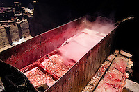 Shrimps seen boiling in the metal pot on the yard of a dried shrimp manufacure in Pontal do Peba, Brazil, 13 March 2004.