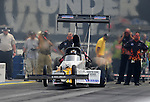 Jun. 19, 2011; Bristol, TN, USA: NHRA top fuel dragster driver Chris Karamesines during eliminations at the Thunder Valley Nationals at Bristol Dragway. In the round Karamesines won his first round since 1990. Mandatory Credit: Mark J. Rebilas-