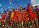 Maasai men singing in a group, Losho Village, Kenya