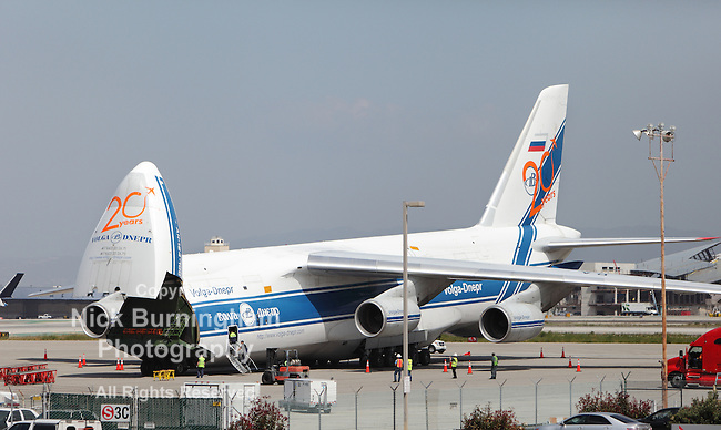 LOS ANGELES, CALIFORNIA - APRIL 27, 2012. A Russian Volga-Dnepr Antonov AN-124 long-range heavy transport aircraft parked at Los Angeles Airport on April 27, 2012.  It is the world's second largest cargo airplane.