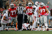 Ohio State Buckeyes defensive end Nick Bosa (97) celebrates after stopping the Indiana offense on fourth down and one at the four-yard line during the fourth quarter of a NCAA Division I college football game between the Ohio State Buckeyes and the Indiana Hoosiers on Saturday, October 8, 2016 at Ohio Stadium in Columbus, Ohio. (Joshua A. Bickel/The Columbus Dispatch)