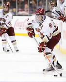 Brian Gibbons (BC - 17) - The Boston College Eagles defeated the Boston University Terriers 3-2 (OT) in their Beanpot opener on Monday, February 7, 2011, at TD Garden in Boston, Massachusetts.