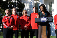 during a Lets Move! soccer clinic held on the South Lawn of the White House.  Let's Move! was started by Mrs. Obama as a way to promote a healthier lifestyle in children across the country.