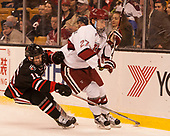 Brendan Collier (NU - 16), Viktor Dombrovskiy (Harvard - 27) - The Harvard University Crimson defeated the Northeastern University Huskies 4-3 in the opening game of the 2017 Beanpot on Monday, February 6, 2017, at TD Garden in Boston, Massachusetts.