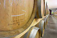 French oak barrel medium plus toast with butts of strong toast. Oak barrel aging and fermentation cellar. Chateau Saint Christoly, Medoc, Bordeaux, France