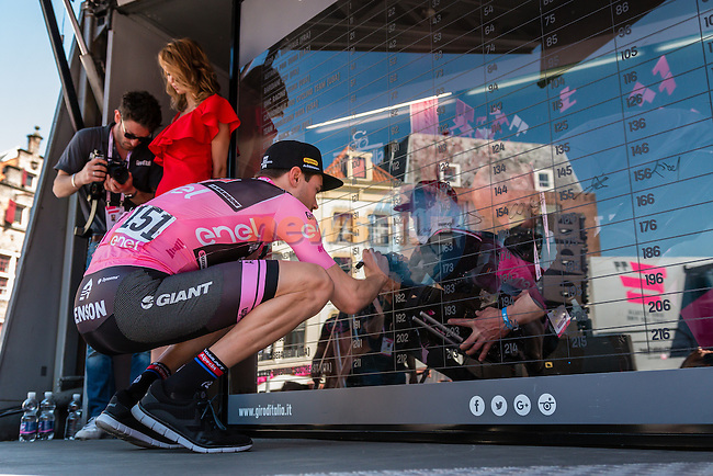 DUMOULIN Tom from the Netherlands of Team Giant - Alpecin (GER) in the pink leaders jersey signing in before the start at Nijmegen, stage 3 from Nijmegen to Arnhem running 190 km of the 99th Giro d'Italia (UCI WorldTour), The Netherlands, 8 May 2016. Photo by Pim Nijland / PelotonPhotos.com | All photos usage must carry mandatory copyright credit (Peloton Photos | Pim Nijland)