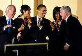 Washington, DC - March 8, 2009 -- United States Vice President Joe Biden (L), U.S. President Barack Obama  and first lady Michelle Obama (C) join Senator Ted Kennedy (Democrat- Massachusetts) (R)  at a musical tribute to celebrate Kennedy's birthday at the Kennedy Center in Washington, DC., USA, on Sunday, 08 March 2009..Credit: Chris Usher - Pool via CNP