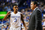 Guard Tyler Ulis of the Kentucky Wildcats talks to head coach John Calipari during the game against the Boston University Terriers at Rupp Arena on Tuesday, November 24, 2015 in Lexington, Ky. Kentucky defeated Boston 82-62. Photo by Adam Pennavaria | Staff
