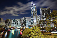 Chicago West Loop at Night with Willis Tower (formerly Sears Tower), Chicago River, and Congress Parkway bridge. Photo is high resolution.