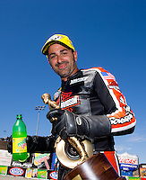 Jul. 27, 2014; Sonoma, CA, USA; NHRA pro stock motorcycle rider Eddie Krawiec celebrates after winning the Sonoma Nationals at Sonoma Raceway. Mandatory Credit: Mark J. Rebilas-