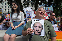 Protest in London against anti gay laws being passed in Russia and in support of persecuted LGBT Russians. 10-8-13