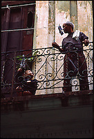 Young Boy and Grandad on Balcony, Havana, Cuba