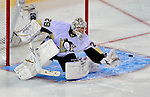 3 February 2009: Pittsburgh Penguins' goaltender Marc-Andre Fleury makes a first period save against the Montreal Canadiens at the Bell Centre in Montreal, Quebec, Canada. The Canadiens defeated the Penguins 4-2. ***** Editorial Sales Only ***** Mandatory Photo Credit: Ed Wolfstein Photo