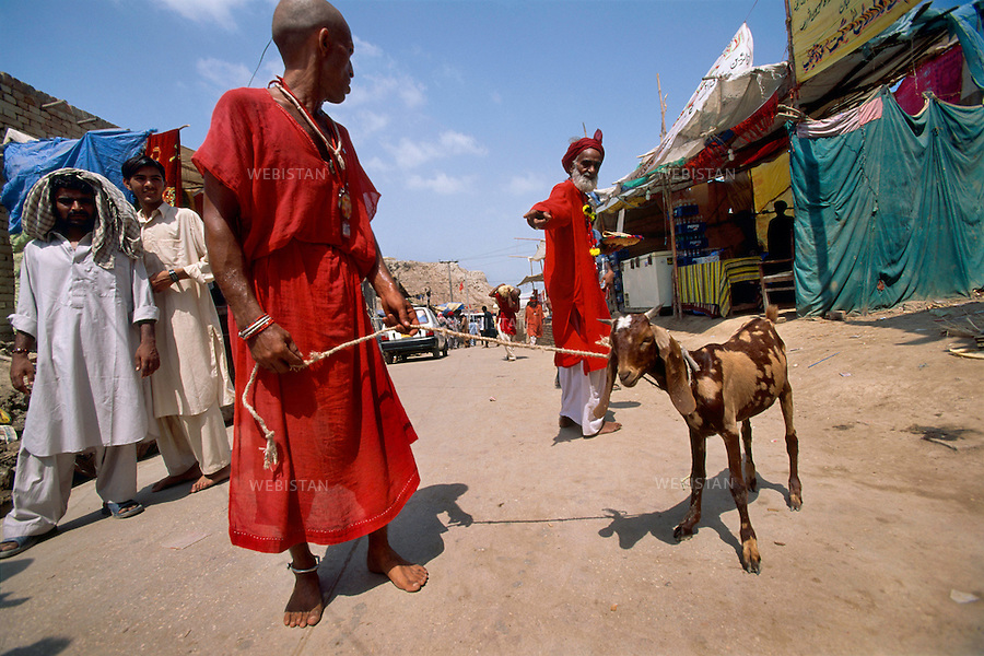 SEHWAN SHARIF, PAKISTAN - SEPTEMBER, 2006: Portrait of a newly became dervish (malang) holding a goat, and his elder fellow, on Sehwan's street. Those who newly integrate a sufi brotherhood have to shave all the hairs of their body in significance of a newly born man. Devotees of different sect of religion  chose different cloting. Some dervishes known as malangs and followers of Lal Shahbaz Qalandar, wear red as he was wearing red all his life. A 13th century Sufi Master, he worshiped alike by Hindus and Muslims. Born as Seyed Shah Hussain (Usman) Marandi, he later on titled as Lal (red) Shahbaz ( Falcon) Qalandar (as he belonged to Qalandria order of sufism).