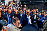 Rome, Italy  September 03, 2015<br /> Demostration anti-mafia, called by the centre-left Democratic Party,  at the church of Don Bosco in Rome to protest the ostentatious funeral of the purported Italian crime boss, Vittorio Casamonica, and to take a public stand against Italy's powerful crime syndicates. Rome's mayor Ignazio Marino comes in the demonstration against the mafia, protected by the security.