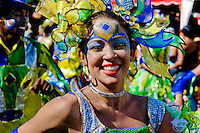 A Colombian girl, wearing a colorful costume and make-up, dances during the Carnival in Barranquilla, Colombia, 27 February 2006. The Carnival of Barranquilla is a unique festivity which takes place every year during February or March on the Caribbean coast of Colombia. A colourful mixture of the ancient African tribal dances and the Spanish music influence - cumbia, porro, mapale, puya, congo among others - hit for five days nearly all central streets of Barranquilla. Those traditions kept for centuries by Black African slaves have had the great impact on Colombian culture and Colombian society. In November 2003 the Carnival of Barranquilla was proclaimed as the Masterpiece of the Oral and Intangible Heritage of Humanity by UNESCO.