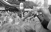 NAGOYA, 4Feb2012 - Participants and spectators brave the cold for the Naked Man Festival. Film images may include dust spots, grain, and other charisma.