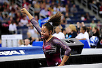 21 APR 2012:  Diandra Milliner of the University of Alabama celebrates after finishing her routine on the vault during the Division I Women's Gymnastics Championship held at the Gwinnett Center Arena in Duluth, GA. Joshua Duplechian/NCAA Photos
