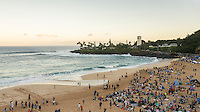 Waimea Bay, North Shore, Oahu, Hawaii (Wednesday, February 10 2016): The Quiksilver In Memory of Eddie Aikau was given the Green light 'Go' signal two days ago with a forecasted big swell due to hit on Wednesday morning. Everything was put in place for the event to kick off with some contestants flying into Hawaii from Chile, France, Australia and the US mainland. Unfortunalty the predicted swell failed to arrive as predicted as the storm front moved North of the islands forcing the postponement . <br /> Photo: joliphotos.com
