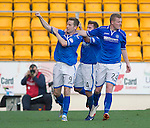 St Johnstone v Partick Thistle...28.09.13      SPFL<br /> Steven MacLean celebrates his goal with Paddy Cregg and Brian Easton<br /> Picture by Graeme Hart.<br /> Copyright Perthshire Picture Agency<br /> Tel: 01738 623350  Mobile: 07990 594431