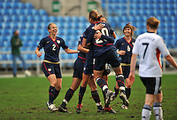 The USA celebrates a goal by Carli Lloyd..The USA captured the 2010 Algarve Cup title by defeating Germany 3-2, at Estadio Algarve on March 3, 2010.