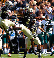 WEST LAFAYETTE, IN - SEPTEMBER 15:  Defensive back Frankie Williams #2 of the Purdue Boilermakers celebrates an interception against the Eastern Michigan Eagles at Ross-Ade Stadium on September 15, 2012 in West Lafayette, Indiana. (Photo by Michael Hickey/Getty Images)***Local Caption***Frankie Williams