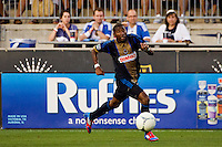 Raymon Gaddis (28) of the Philadelphia Union. The Chicago Fire defeated the Philadelphia Union 3-1 during a Major League Soccer (MLS) match at PPL Park in Chester, PA, on August 12, 2012.