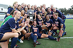 04 November 2012: Virginia players pose with the championship trophy. The University of Virginia Cavaliers defeated the University of Maryland Terrapins 4-0 at WakeMed Stadium in Cary, North Carolina in a 2012 NCAA Division I Women's Soccer and Atlantic Coast Conference Tournament Championship game.