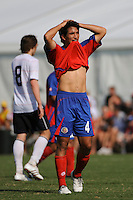 Juan Andres Monge (4) of Costa Rica reacts to a call. The US U-20 Men's National Team defeated the U-20 Men's National Team of Costa Rica 2-1 in an international friendly during day four of the US Soccer Development Academy  Spring Showcase in Sarasota, FL, on May 25, 2009.