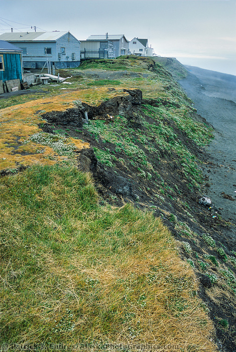 Coastal erosion along a bluff adjacent to the Arctic ocean, Utqiagvik (Barrow), Alaska