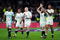 England players celebrate victory after the match. RBS Six Nations match between England and Scotland on March 11, 2017 at Twickenham Stadium in London, England. Photo by: Patrick Khachfe / Onside Images