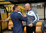 Port Vale 3 Doncaster Rovers 0, 22/08/2015. League One, Vale Park. Doncaster Rovers Manager Paul Dickov and Port Vale's manager Robert Page embrace before kick off. Photo by Paul Thompson.