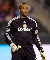 Chivas USA goalkeeper Zach Thornton on his way to garnering his 12th clean sheet of the season. Chivas USA defeated the Kansas City Wizards 2-0 at Home Depot Center stadium in Carson, California on Saturday October 10, 2009...