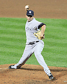 New York Yankees pitcher Luis Alaya (38) pitches in the sixth inning against the Baltimore Orioles at Oriole Park at Camden Yards in Baltimore, MD on Friday, August 26, 2011.  The Orioles won the game 12 - 5..Credit: Ron Sachs / CNP.(RESTRICTION: NO New York or New Jersey Newspapers or newspapers within a 75 mile radius of New York City)