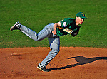 19 April 2009: University of Vermont Catamounts' right handed pitcher Harry Glynne, a Freshman from Hamden, CT, on the mound against the University at Albany Great Danes at Historic Centennial Field in Burlington, Vermont. The Great Danes defeated the Catamounts 9-4 in the second game of a double-header. The Catamounts are playing their last season of baseball, as the program has been marked for elimination due to budgetary constraints on the University. Mandatory Photo Credit: Ed Wolfstein Photo
