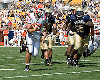 Bowling Green quarterback Tyler Sheehan (#13) heads to the end zone on a 11-yard touchdown run.  The Bowling Green Falcons defeated the Pitt Panthers 27-17 on August 30, 2008 at Heinz Field, Pittsburgh, Pennsylvania.