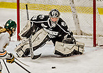 13 November 2015: Providence College Friar Goaltender Alanna Serviss, a Junior from Chicago, IL, makes a third period save against the University of Vermont Catamounts at Gutterson Fieldhouse in Burlington, Vermont. The Lady Friars defeated the Lady Cats 4-1 in Hockey East play. Mandatory Credit: Ed Wolfstein Photo *** RAW (NEF) Image File Available ***