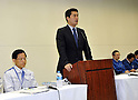 May 9th, 2011, Tokyo, Japan - Goshi Hosono, a special adviser to Japanese Prime Minister Naoto Kan, speaks during a news conference at TEPCO head office in Tokyo on Monday, May 9, 2011. Eight workers of Tokyo Electric Power Co. and a government inspector entered the reactor building of the No. 1 unit early Monday to survey conditions inside and measured radiation levels. (Photo by Natsuki Sakai/AFLO) [3615] -mis-...