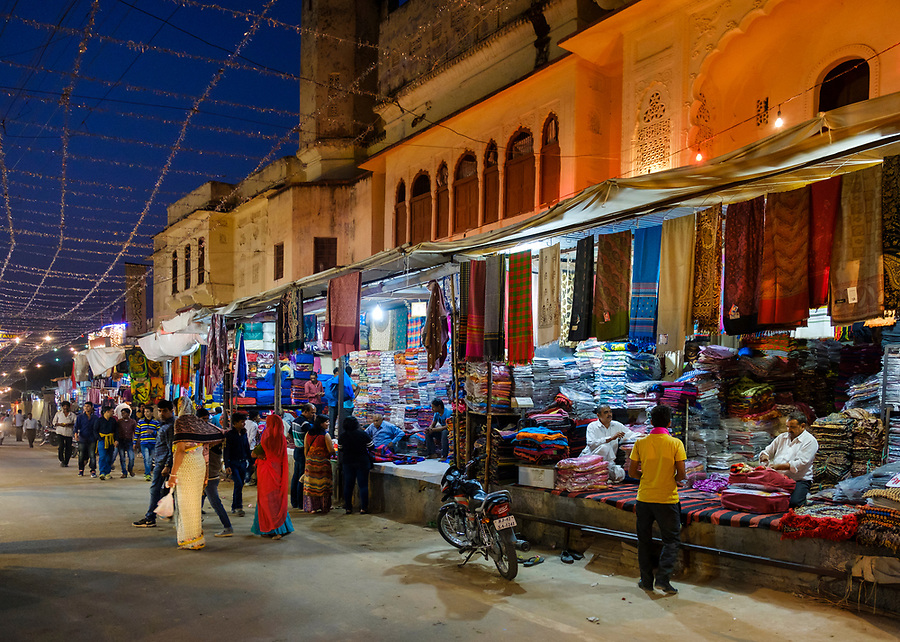 PUSHKAR, INDIA - CIRCA NOVEMBER 2016:  Brahma Temple Rd in Pushkar during the Pushkar Camel Fair.