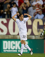 USA's Hercules Gomez celebrates after scoring a goal against the Czech Republic during an international friendly tune up match for the 2012 World Cup, in Hartford, CT, 05/25/10. The Czech Republic defeated the USA 4-2.