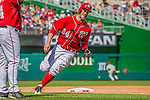 15 September 2013: Washington Nationals outfielder Bryce Harper rounds third, heading for home to score against the Philadelphia Phillies at Nationals Park in Washington, DC. The Nationals took the rubber match of their 3-game series 11-2 to keep their wildcard postseason hopes alive. Mandatory Credit: Ed Wolfstein Photo *** RAW (NEF) Image File Available ***