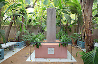 Memorial to Yves Saint Laurent, Majorelle Garden, Marrakech, Morocco. These botanical gardens were designed by French painter Jacques Majorelle, 1886-1962, in the 1920s and 1930s. The French fashion designer Yves Saint Laurent part-owned the garden from 1980 until his death in 2008, when his ashes were scattered here. Picture by Manuel Cohen