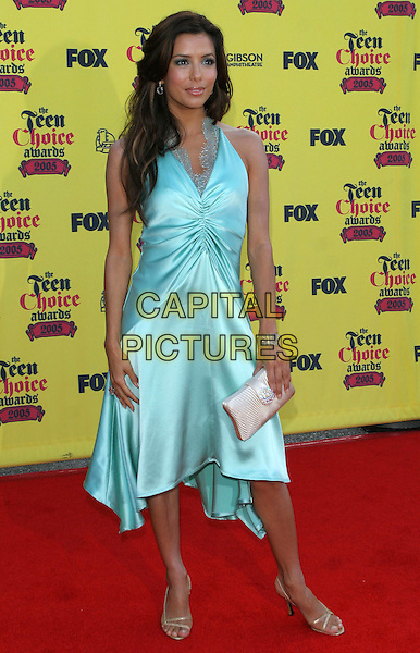 EVA LONGORIA.2005 Teen Choice Awards held at the Gibson Amphitheatre, Universal City, California. .August 14th, 2005.Photo Credit: Jacqui Wong/AdMedia.full length turquoise blue silk satin dress pink clutch purse ruched.www.capitalpictures.com.sales@capitalpictures.com.© Capital Pictures.