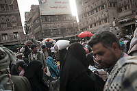 Monday 13 July, 2015: A market place is seen in the Old City of Sana'a, a 2,500-year-old cultural heritage site endangered after a fighter jet of the Saudi-led coalition bombed and destroyed a line of residential tower-houses killing 4 residents and reducing to rubble the historial site. The ongoing aerial campaign of bombardments by the Arab states and their western allies led by Saudi Arabia and the heavy fighting against the entrenchment of the Houthi insurgency along the Yemeni main cities from north to south has caused an international alert for the enlisted cultural heritage sites in Yemen, such as the historic town of Zabid, the Old City of Sana'a and the Old Walled City of Shibam. (Photo/Narciso Contreras)