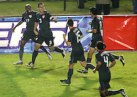 DaMarcus Beasley and Carlos Bocanegra celebrate. The US men's national team defeated Guatemala 1-0 in the semifinal round of qualifying for the 2010 FIFA World Cup on August 20, 2008.