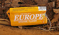 A Europe chewing gum wrapper on the ground in Gao. Gao is a transit point for migrants who are trying to cross the land to get into Europe in search of a better life.